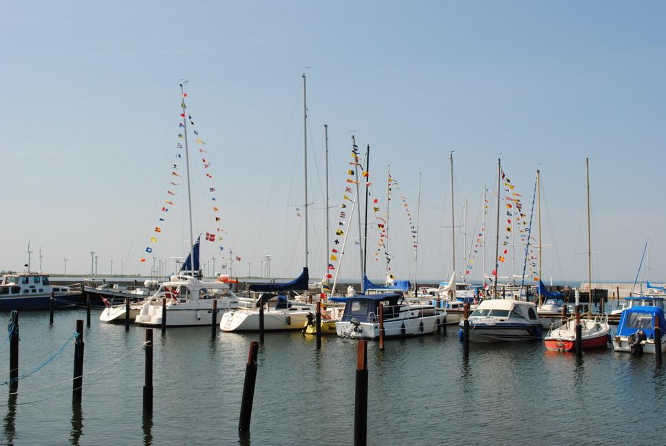 """Sejlbåde puntet med signalflag """"flag over toppen"""""""